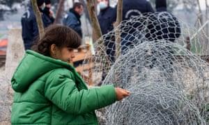 A refugee at the Greek-Macedonian border near Idomeni, northern Greece.