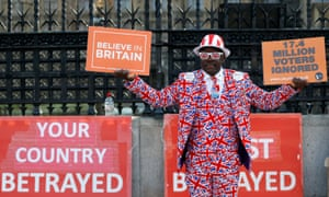 Brexit supporter demonstrates outside parliament.