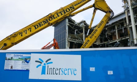 An Interserve sign at demolition site in Bournemouth.