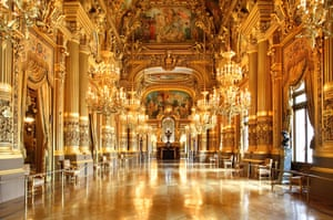 The foyer of Paris's spectacular opera house.