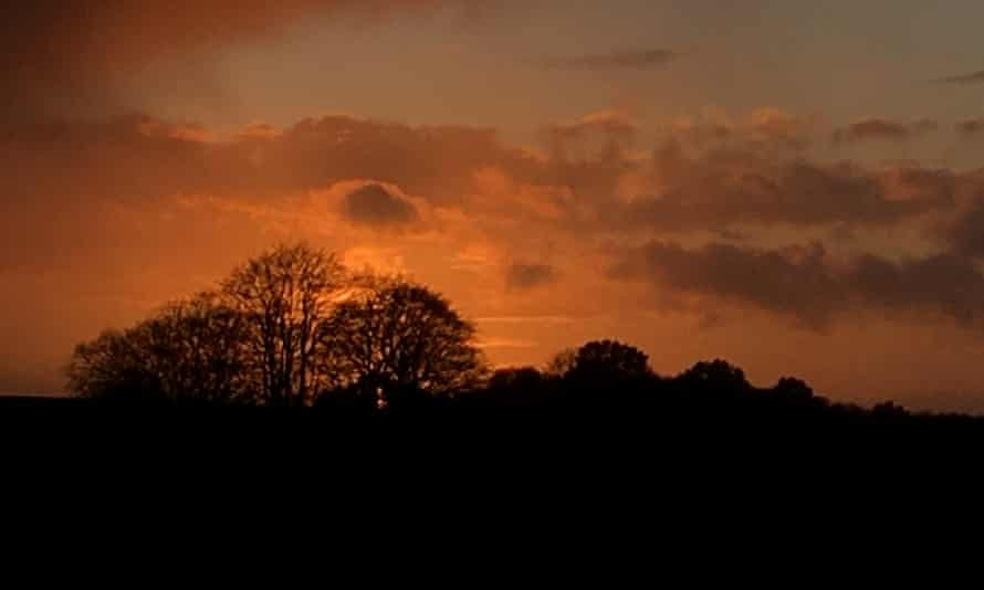 Sunset over the byway, Gallows Down, West Berkshire.