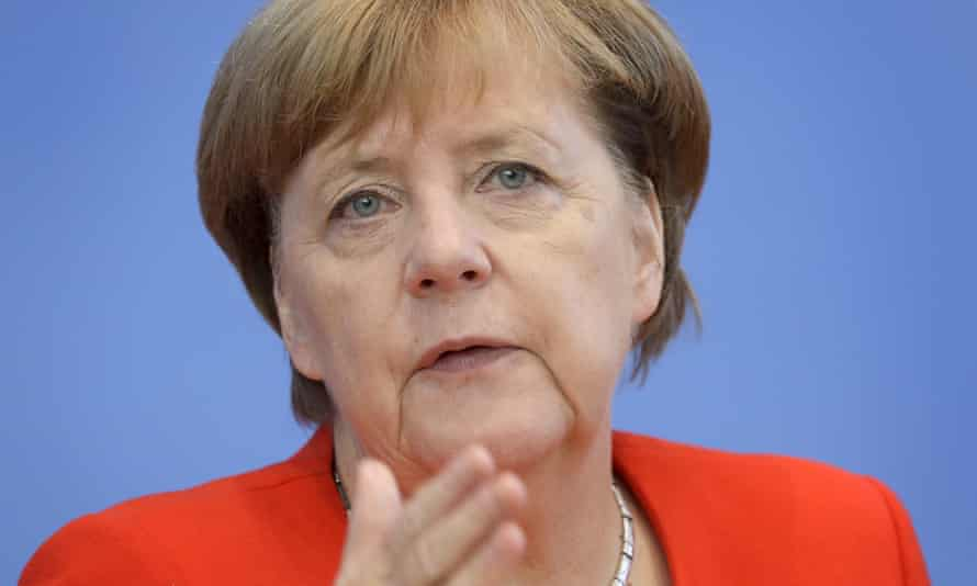 German Chancellor Angela Merkel gestures during her annual press conference at the Federal Press Conference in Berlin, Germany