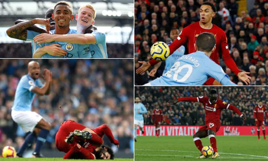 Clockwise from top left: Gabriel Jesus celebrates scoring Manchester City's second goal in September 2017; Liverpool's Trent Alexander-Arnold appears to handle the ball in the penalty area in November 2019; Liverpool's Sadio Mané scores their third in January 2018 and City's Vincent Kompany reacts after his tackle on Mohamed Salah that resulted in a yellow card, in January 2019.