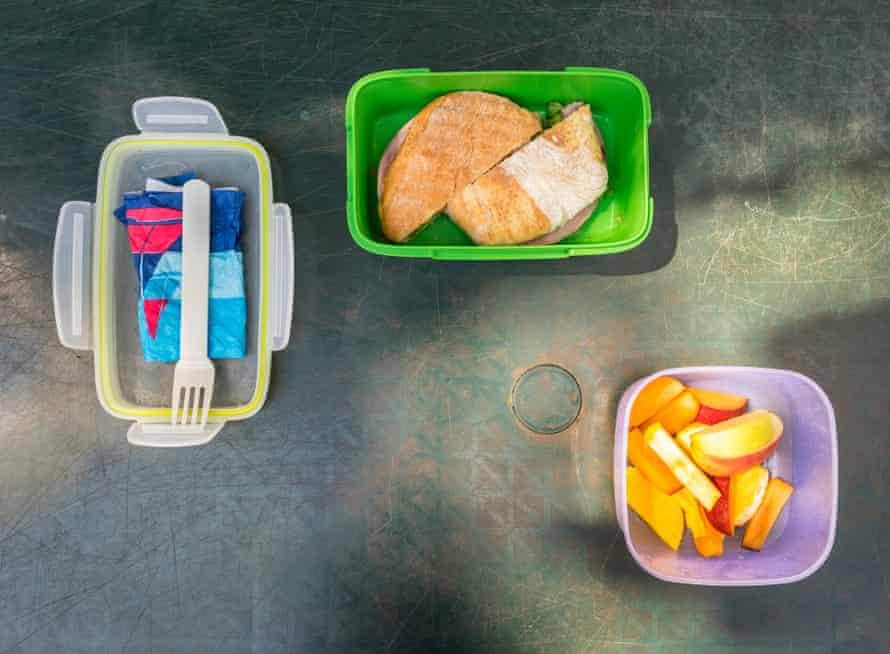 Ushiyama's meal: a sandwich and fruit