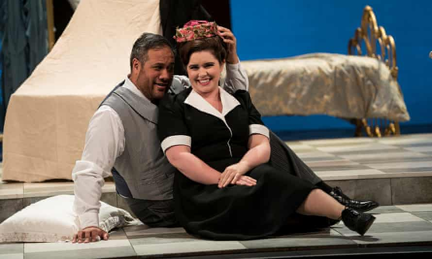 An easygoing couple … Jonathan Lemalu as Figaro and Tara Erraught as Susanna in Irish National Opera's The Marriage of Figaro.