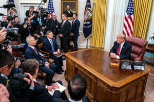 US President Donald Trump meets with Chinese vice premier Liu He in the Oval Office