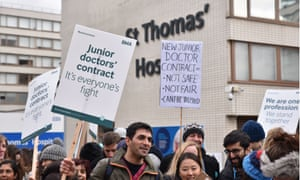 Junior doctors on the picket line outside St Thomas' hospital in Westminster, London