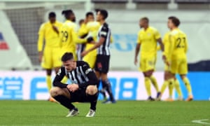 Newcastle United's Ciaran Clark doesn't look happy with the point against Fulham.
