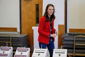 New Zealand Prime Minister Jacinda Ardern is seen casting her vote on the first day of advance voting during the New Zealand general election, in Auckland, Saturday, October 3, 2020. The 2020 New Zealand general election will be held on October 17. (AAP Image/David Rowland) NO ARCHIVING
