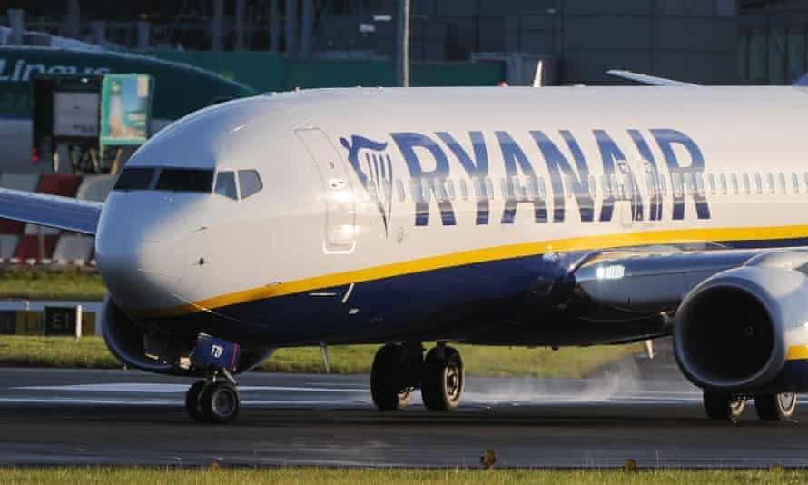 A Ryanair plane on the runway