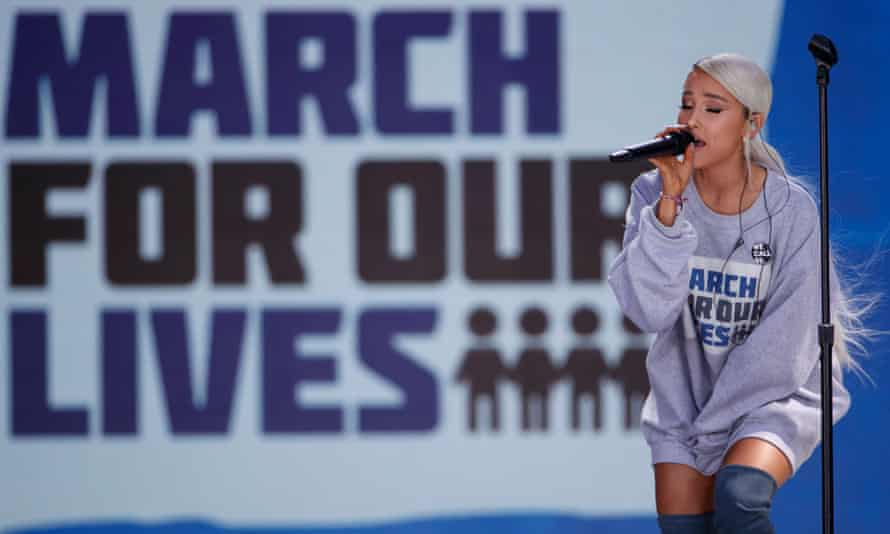 Ariana Grande performs at the rally in Washington DC