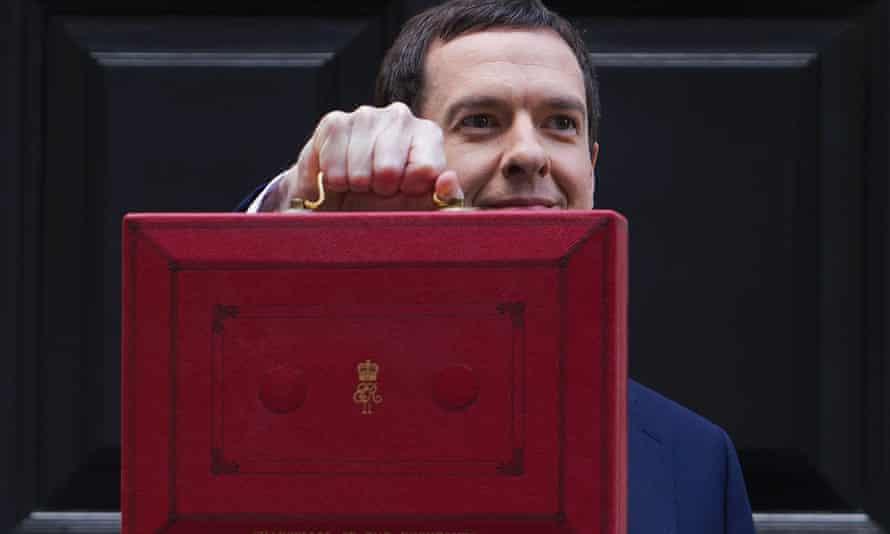 George Osborne brandishes the red budget briefcase