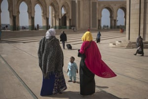 A Muslim family after Friday prayers outside the Hassan II mosque, one of the largest in Africa.