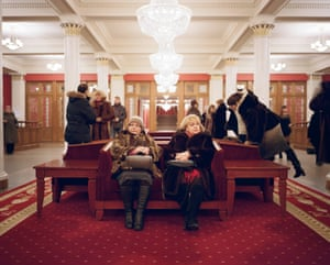 Theatregoers wait in the lobby after a performance at the Novosibirsk State Academic Opera and Ballet theatre. This is the largest opera house in Russia, located in the de facto capital of Siberia