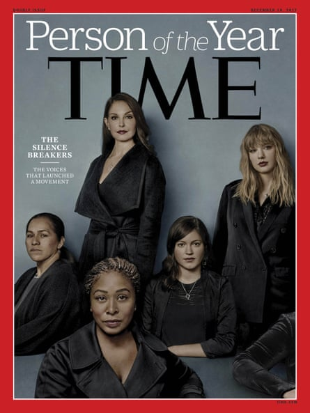 Time magazine's Person of the Year edition went to 'The Silence Breakers' – those who have shared their stories about sexual assault and harassment. The magazine's cover features (clockwise, from top) Ashley Judd, Taylor Swift, Susan Fowler, Adama Iwu and 'Isabel Pascual' (a pseudonym). (Time Magazine via AP)