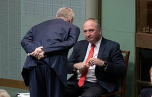 Deputy PM Michael McCormack talks to Barnaby Joyce