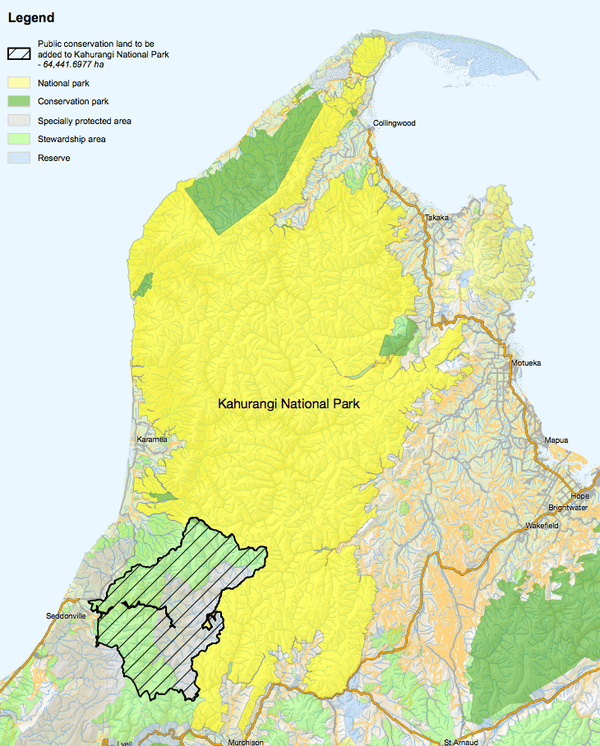 The area of Kahurangi National Park that will be expanded in New Zealand