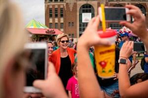 Democratic presidential candidate Elizabeth Warren visits the Iowa State Fair on August 10 in Des Moines, Iowa.