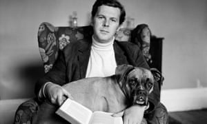 James Cellan Jones at home with his dog Betsy, 1968.