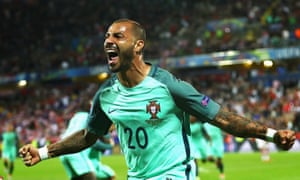 Ricardo Quaresma of Portugal celebrates scoring the only goal of the game.