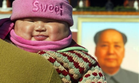 An image from 2002 of a chubby baby in Tiananmen Square, Beijing