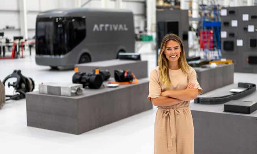 Imogen Pierce with the Arrival van