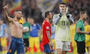 Jordi Alba and goalkeeper Kepa salute Spanish fans at the end of their win in Romania.