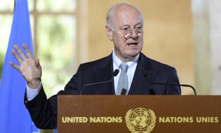 Staffan de Mistura, the UN special envoy for Syria, speaks during a news conference at the European headquarters of the United Nations  in Geneva.