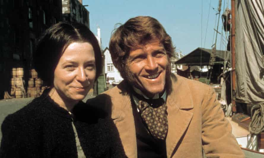 Anne Stallybrass and Peter Gilmore as Anne and James Onedin in an 1971 episode of The Onedin Line. The couple married in real life in 1987 and named their Devon home Onedin House.
