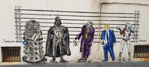 As well as his hand-writing being in court, Johnson found himself in a graffiti line-up of villains including a Dalek, Darth Vader, the Joker and Harley Quinn.