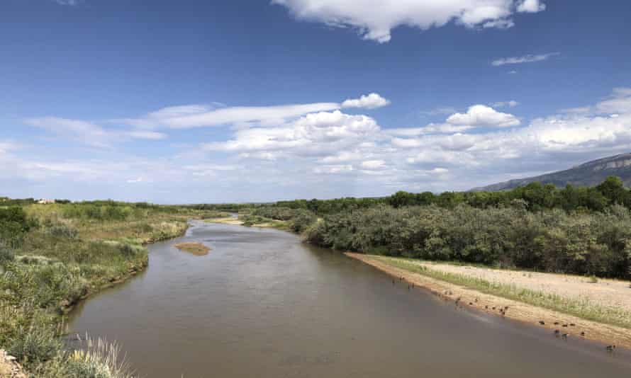 The Rio Grande as it flows through Rio Rancho, New Mexico. In Las Cruces, when the growing season ends, nothing is left in the river bed.