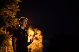 Nick Bryan of the Essendon Bombers AFL team in his driveway in Melbourne, Australia.