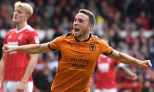 Diogo Jota celebrates the first of his brace as Wolves beat Nottingham Forest at the City Ground