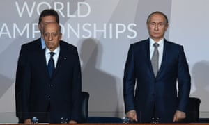 Vladimir Putin, right, at the Fina world championships with Fina president Julio Maglione.