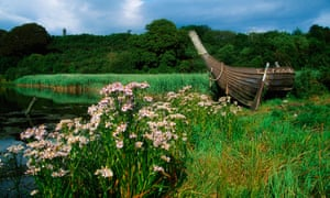 A Viking longship in the Irish National Heritage Park, Ferrycarrig, County Wexford.