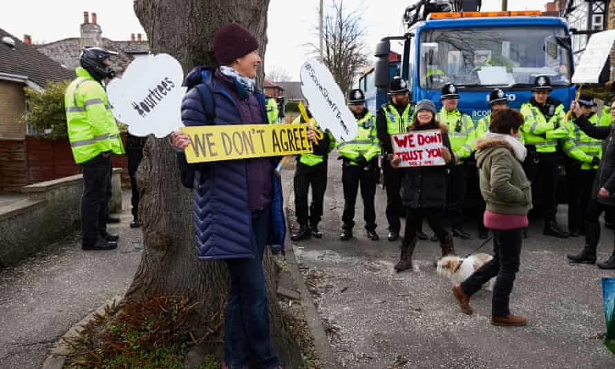 Sheffield residents protest against the felling of trees in the city