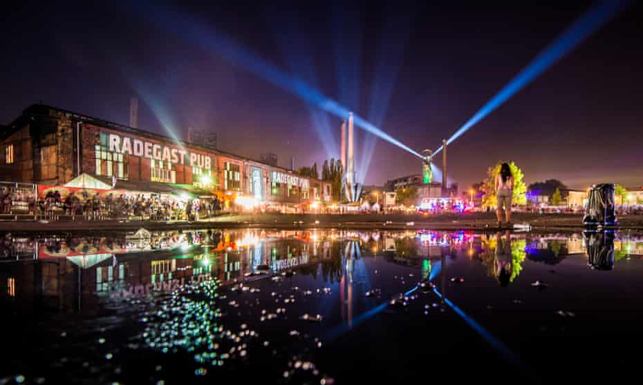 Ostrava Festival, at night, with buildings lit by coloured lights. Czech Republic