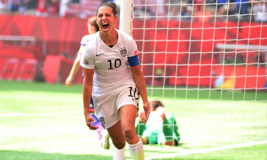 Carli Lloyd celebrates one of her three goals during the 2015 World Cup final against Japan