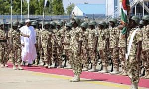 Nigerian president Muhammadu Buhari on his visit to troops in Yola.