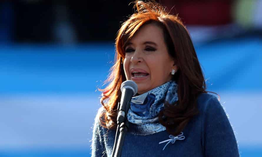 Former Argentine President Cristina Fernández de Kirchner speaks during a rally in Buenos Aires.
