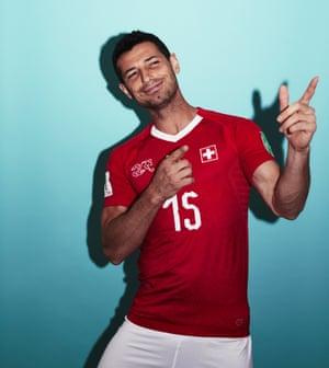 Blerim Dzemaili of Switzerland looks like he is enjoying the attention of the portrait photoshoot.