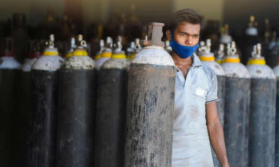 Oxygen cylinders to be shipped to hospitals on the outskirts of Hyderabad.
