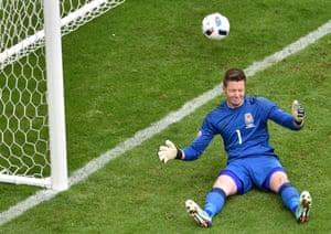 Wales goalkeeper Wayne Hennessey reacts after Daniel Sturridge's last gasp winner in Lens