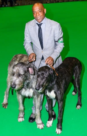 Chris Amoo, former Real Thing singer, with two wolfhounds at Crufts dog show 2019