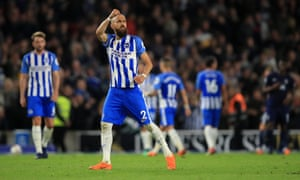 Brighton's Bruno Saltor celebrates after the final whistle.