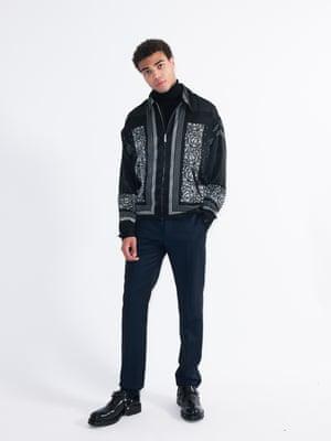 Model wears jacket, £69.99, and shoes, £99.99, zara.com. Roll neck, £15, marksandspencer.com. Trousers, £169, tedbaker.co.uk.