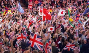 Promenaders waving various flags during the Last Night of the Proms. This year's event is expected to see many EU flags waved alongside union jacks.