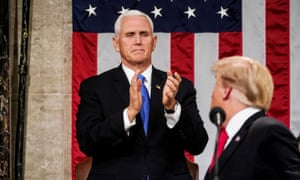 Mike Pence applauds Donald Trump's State of the Union address in February. At least four US embassies – in Israel, Germany, Brazil and Latvia – were denied permission to fly the pride flag.