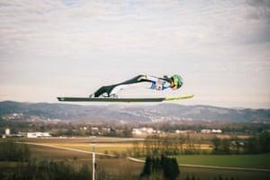 Eferding, AustriaNika Kriznar of Slovenia competes during the Women's HS 90 at the Viessmann FIS Ski Jumping World Cup, Hinzenbach
