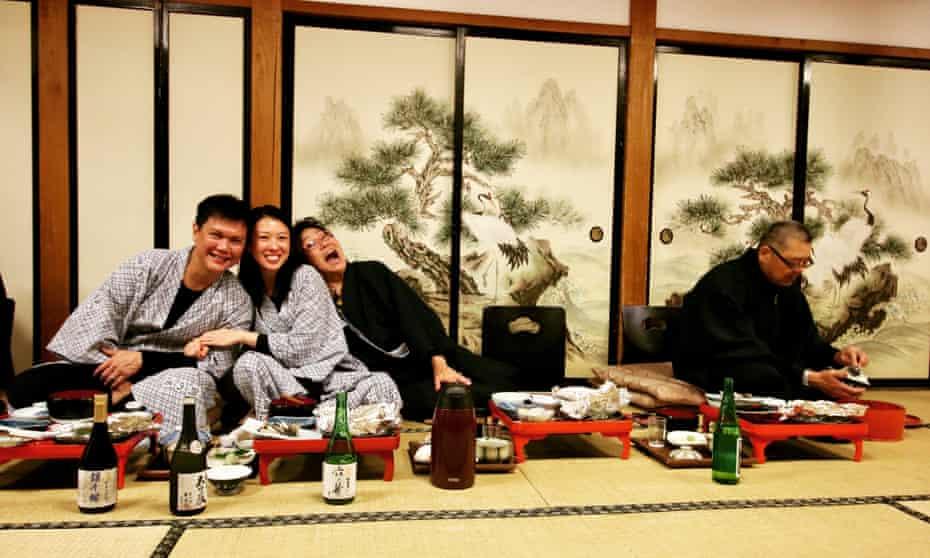 Dinner in Akita on a Sake Tours trip